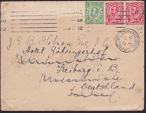 TURKEY BR PO IN CONSTANTINOPLE 1912 cover ex UK rediirected to Germany......7673