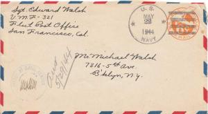 United States Marine Corps 6c Monoplane Air Envelope 1944 U.S. Navy Marine Fi...