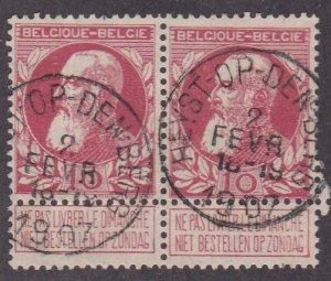 Belgium # 85, King Leopold With Label, Used pair, 1/3 Cat