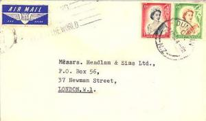 New Zealand 9d and 1/- QEII 1957 Dunedin, C.1. N.Z. Airmail to London, Englan...