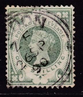 Great Britain 1887 1shilling green Queen QV Jubilee  VF/Used/(o)