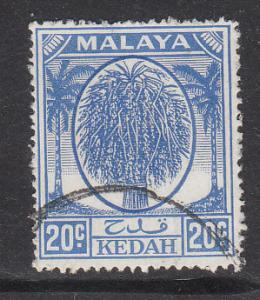 Malaya Kedah 1950 Sc 73 20c ultramarine Used