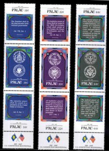 Palau Scott 155-163a  MNH**  in triptych format with labels