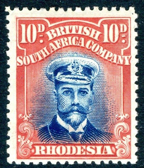 RHODESIA-1919 10d Blue & Red Sg 270 LIGHTLY MOUNTED MINT V18585