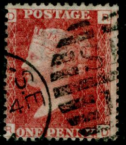 SG43, 1d rose-red plate 154, FINE USED. RD