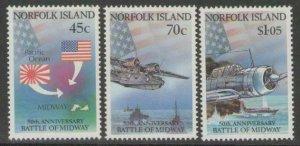 NORFOLK ISLAND SG531/3 1992 ANNIV. OF BATTLE OF MIDWAY MNH