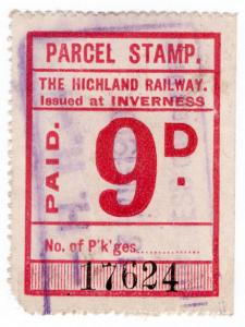 (I.B) The Highland Railway : Parcel Stamp 9d (Inverness)