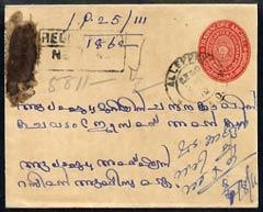 Indian States - Travancore 3/4ch red p/stat env reg used ...