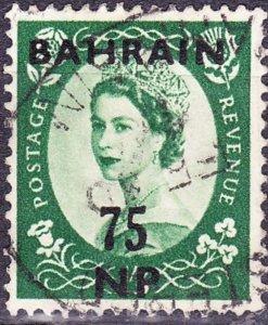 BAHRAIN 1957 QEII 50NP on 9d Bronze-Green SG111 Used