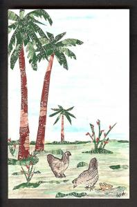 Palm Trees & Two Fowls on Handmade Stamp Card
