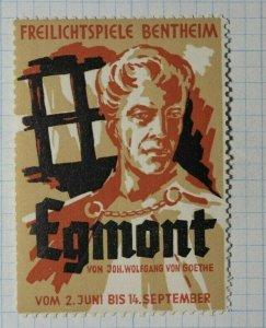 Freilichtspiele Bentheim Egmont by John Wolfgang  Exposition Poster Stamp Ads