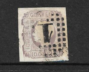 PORTUGAL 1862-64  100r  KL  IMPERF   FU SG 34