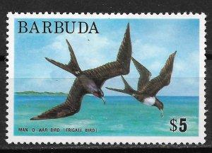 1974-5 Barbuda 186 $5 Frigate birds MH