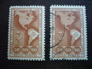 Stamps - Cuba - Scott# 393 - Mint Hinged & Used set of 2 Stamps