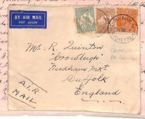 AUSTRALIA Cover KANGAROO FRANKING 1s/11d Rate GB 1931 Contents Re AIRMAIL MS3937