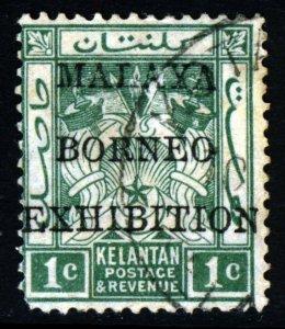 KELANTAN MALAYSIA 1922 1c. MALAYA BORNEO EXHIBITION OVERPRINT Wmk MSCA SG 37 VFU
