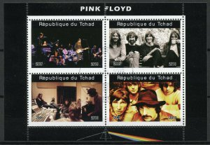 Chad Music Stamps 2019 CTO Pink Floyd Famous Musicians People 4v M/S I
