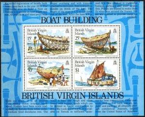 British Virgin Islands 1983 Sailing Ships Boats Building  S/S MNH