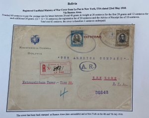 1910 La Paz Bolivia Unofficial War Minister Registered Cover To New York Usa