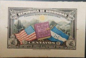 O) 1937 HONDURAS, CARDBOARD DIE SUNKEN PROOF, FLAG OF US AND HONDURAS SC C84 46