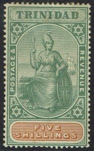 TRINIDAD 1896 BRITANNIA 5/- WMK CROWN CA