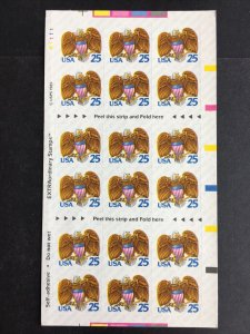 1989 Unfolded Booklet of 18 Eagle 25-cent Self-adhesive stamps Sc# 2431a
