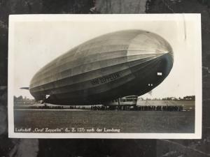 1930 Germany Graf Zeppelin RPPC postcard Cover to Vogtland Flight LZ 127