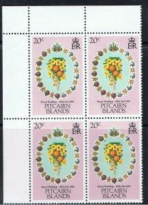 PITCAIRN ISLANDS 1981 ROYAL WEDDING - BLOCKS OF 4
