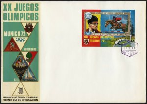 C02 Equatorial Guinea Oversized FDC 1972 Munich Olympics Equestrian Sheetlet