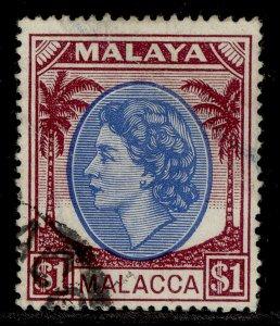 MALAYSIA - Malacca QEII SG36, $1 bright blue & brown purple, FINE USED. Cat £17.
