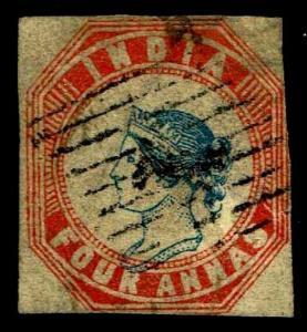 1854 India #6 Four Annas Watermark 37 - Used - Fine - CV$575.00 (ESP#3819)