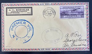1930 Port Au Prince Haiti First Flight Airmail Cover To Georgetown Guiana