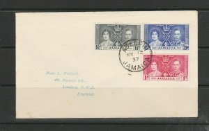 Jamaica FDC 1937 Coronation, Plain, ADELPHI cds, Imprint address