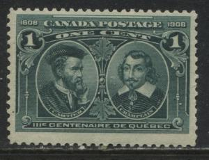 Canada KEVII 1908 Quebec 1 cent unmounted mint NH Hairlines