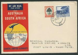 SOUTH AFRICA 1952 Qantas first flight to Mauritius.........................61075