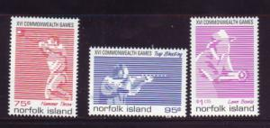Norfolk Island Sc 659-61 1998 Commonwealth Games stamp set mint NH