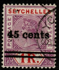 SEYCHELLES SG44 1901 45c on 1r BRIGHT MAUVE & DEEP RED FINE USED