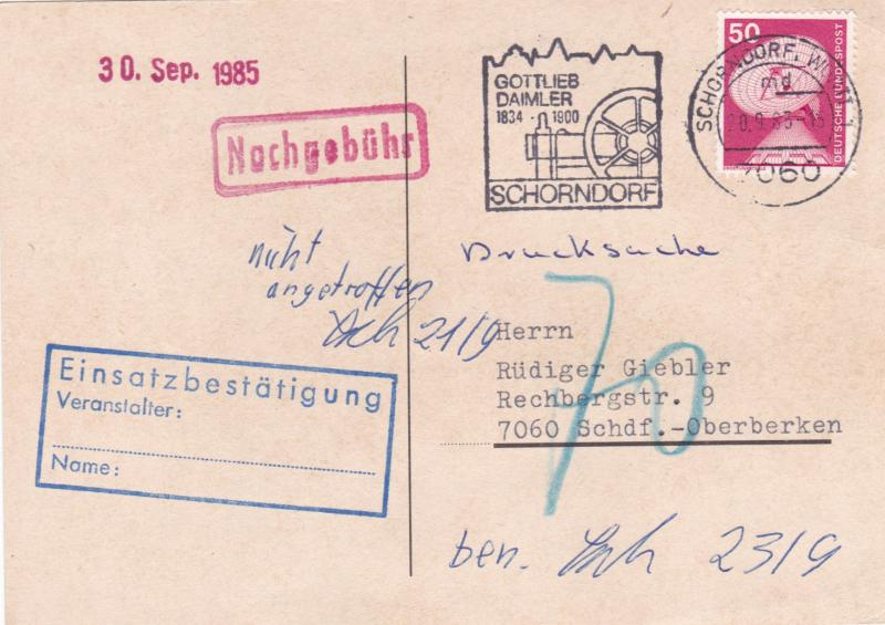 West Germany 1984 150th Birthday of Daimler Postcard used VGC