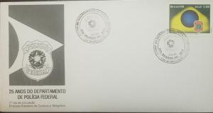 L) 1989 BRAZIL, 25 YEARS OF THE FEDERAL POLICE DEPARTMENT, SHIELD, FDC, XF