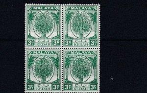 MALAYA  KEDAH    1950 - 55   S G 78   3C  GREEN   BLOCK OF 4   MNH