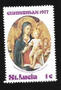 St Lucia #429  Christmas 1977  MH