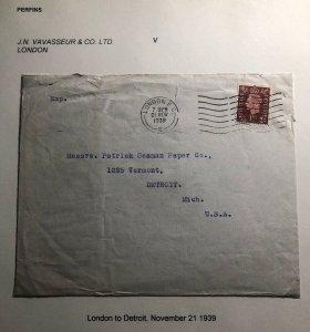 1939 London England JN Vavasseur Commercial Cover To Detroit MI USA