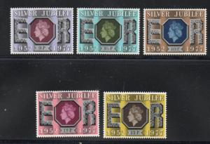 Great Britain Sc 810-14 1977 QE II 25 years stamp set mint NH