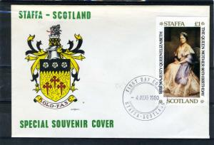 Staffa Scotland 4.08.1980 Queen Mother's 80th.Birthday s/s Imperforated in FDC