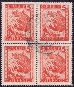 Austria - 1947 - Scott #501 - used block of 4 - Leopoldsberg