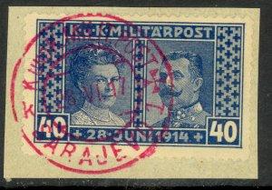 BOSNIA AND HERZEGOVINA 1917 40h ARCHDUKE MEMORIAL Semi Postal Sc B15a VFU