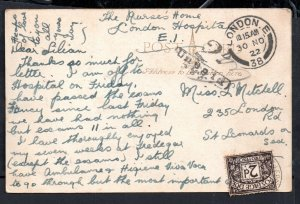 GB KGV 1922 Postal History Postcard 2d Postage Due To Pay WS18125