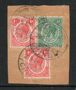 Nyasaland: 1911 KGV values cancelled British Concession Chinde on piece