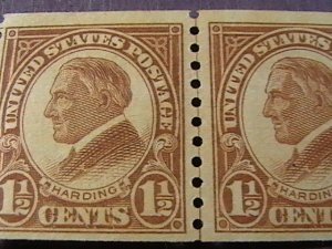 U.S.# 598-MINT NEVER/HINGED--JOINT LINE PAIR----HARDING----1925