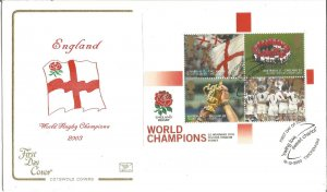 England World Rugby Champions Sheet 2003 Cotswold Covers First Day Cover W123
